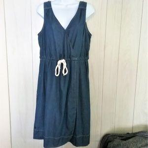 Tommy Hilfiger Faux Wrap Chambray Dress Size L